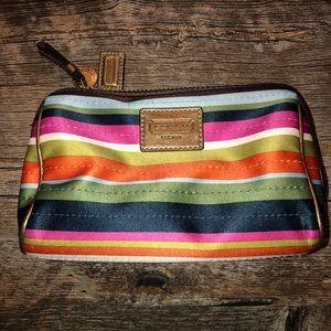 Coach Legacy Satin Stripe Multicolor Makeup Bag